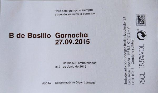 Etiqueta B de Basilio Garnacha