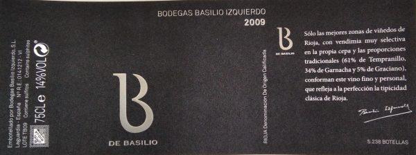 Etiqueta B de Basilio tinto